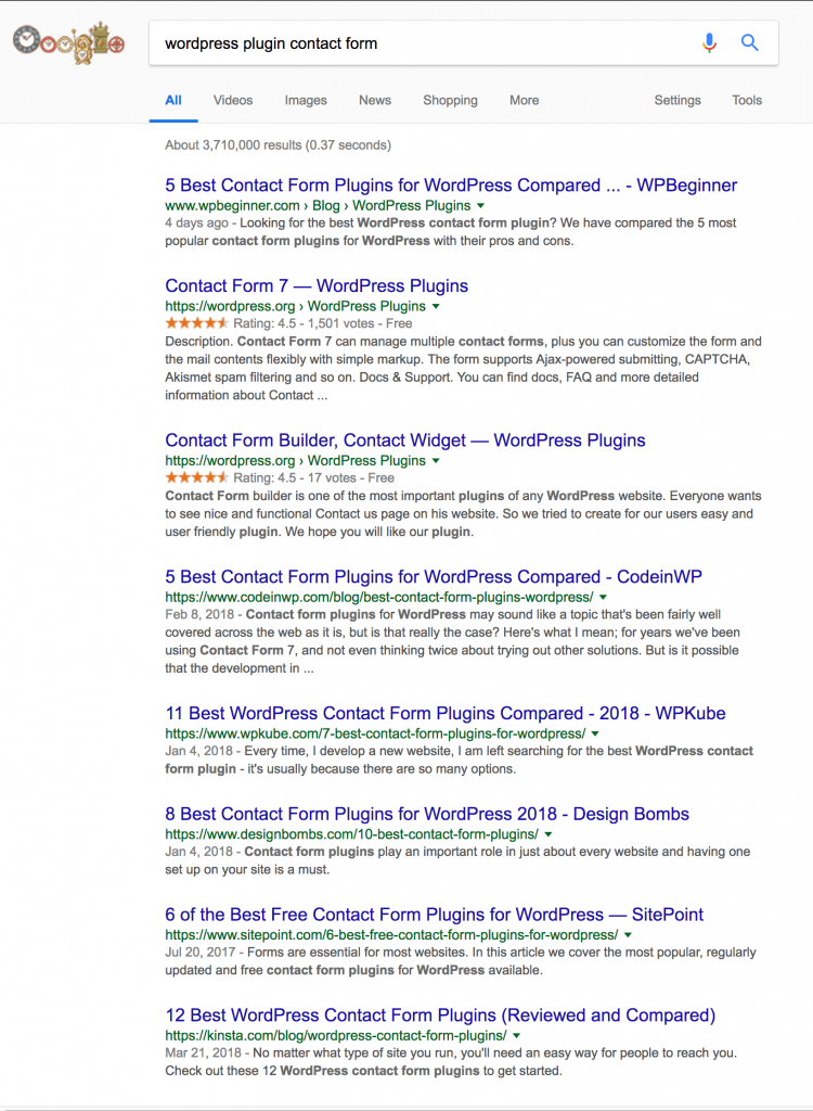 Google search results for contact form